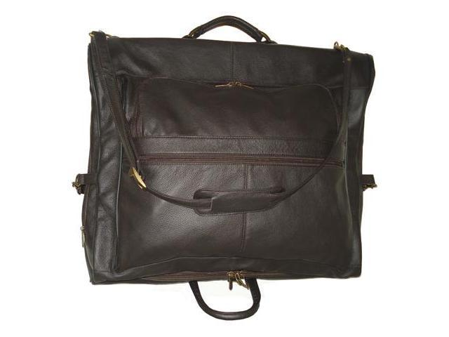Chestnut Brown Leather Three-suit Garment Bag (#2435-3)