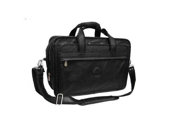 Black Leather Practical Expandable Computer Case (#2438-0)