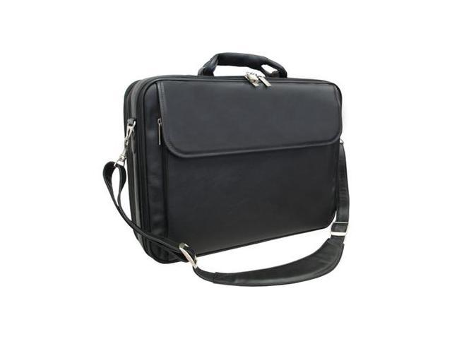 Black Leather Notebook Computer Bag (#85-0)
