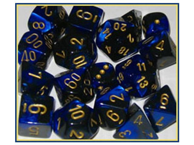Chessex Manufacturing 26435 Cube Gemini Set Of 7 Dice - Black & Blue With Gold Numbering