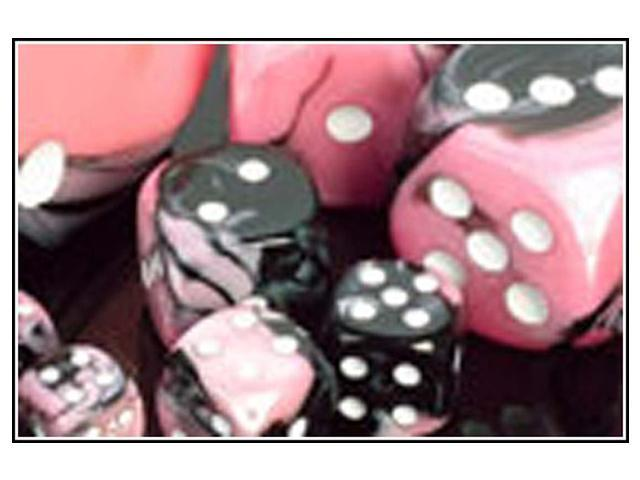 Chessex Manufacturing 26430 Cube Gemini Set Of 7 Dice - Black & Pink With White Numbering