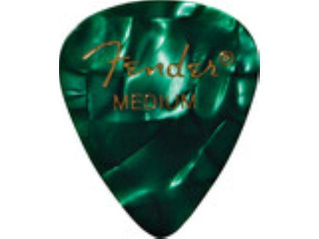 Fender 351 Guitar Picks Premium Celluloid - Green - Medium - 12 Pack