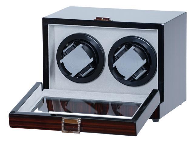 Double Watch Winder Ebony Wood w/LCD Display