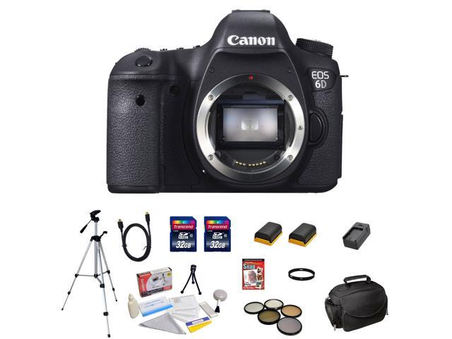 Canon EOS 6D 20.2 MP CMOS Digital SLR Camera with 3.0-Inch LCD (Body Only) + 13 Piece Deluxe Accessory Bundle