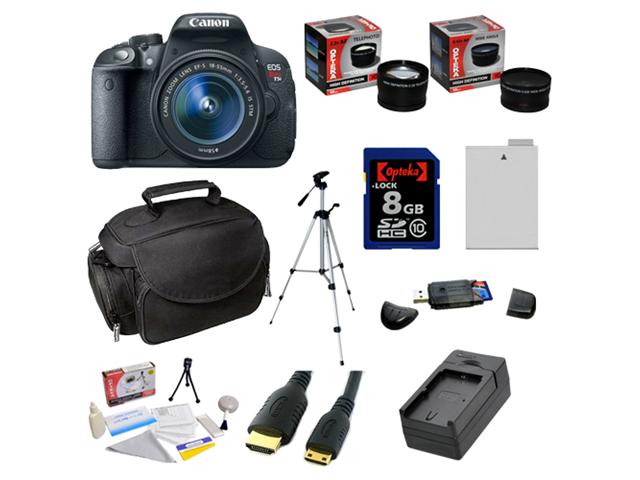 Canon EOS Rebel T5i 18.0 MP CMOS Digital SLR DSLR Camera with EF-S 18-55mm f/3.5-5.6 IS STM Lens & 8GB Opteka 2 Lens Advanced Accessory Bundle