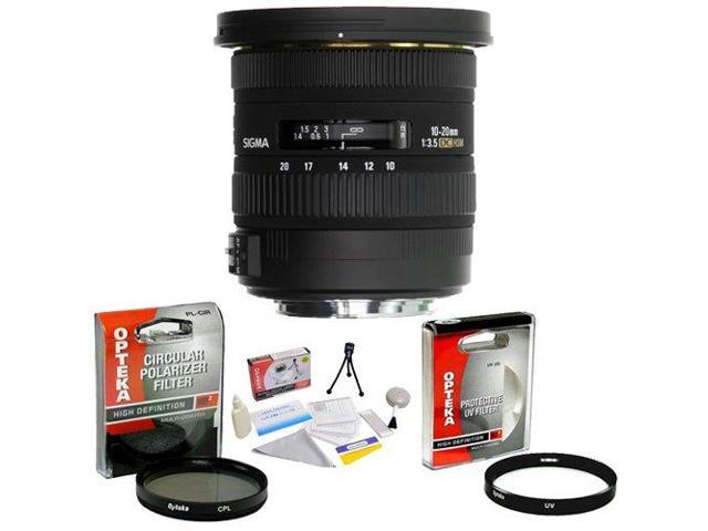 Sigma 10-20mm f/3.5 EX DC HSM ELD SLD Aspherical Super Wide Angle Lens for Canon + Opteka UV Filter + Opteka CPL Filter + Opteka 5 Piece Cleaning Kit