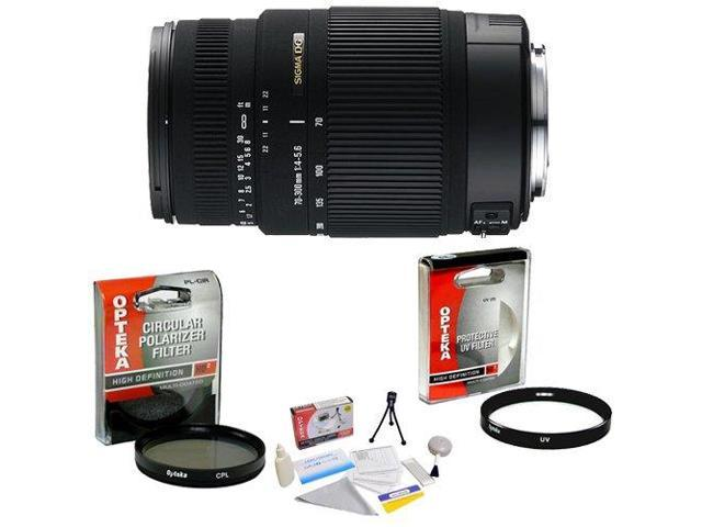 Sigma 70-300mm f/4-5.6 DG OS (Optical Stabilizer) AF Telephoto Zoom Lens for Canon EOS + Opteka UV Filter + Opteka CPL Filter + Opteka 5 Piece Cleaning Kit