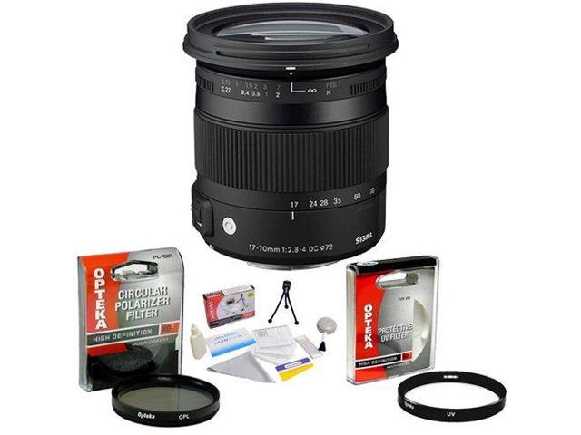 Sigma 17-70mm f/2.8 DC Contemporary Macro OS HSM TSC Lens for Canon EOS + Opteka UV Filter + Opteka CPL Filter + Opteka 5 Piece Cleaning Kit