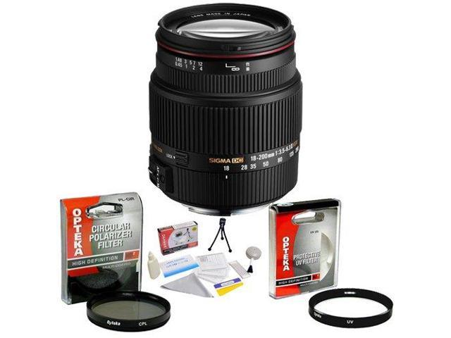 Sigma Zoom Super Wide Angle 18-200mm f/3.5-6.3 DC OS HSM (Optical Stabilizer) Lens for Nikon + Opteka UV Filter + Opteka CPL Filter + Opteka 5 Piece Cleaning Kit