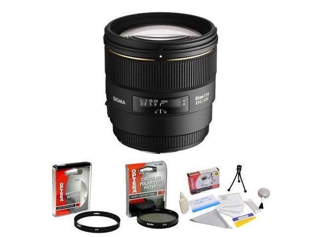 Sigma 85mm f/1.4 EX DG HSM AF Prime Lens for Nikon + Opteka UV Filter + Opteka CPL Filter + Opteka 5 Piece Cleaning Kit
