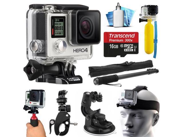 gopro hero4 silver edition 4k action camera with 16gb microsd card selfie stick bike handlebar. Black Bedroom Furniture Sets. Home Design Ideas