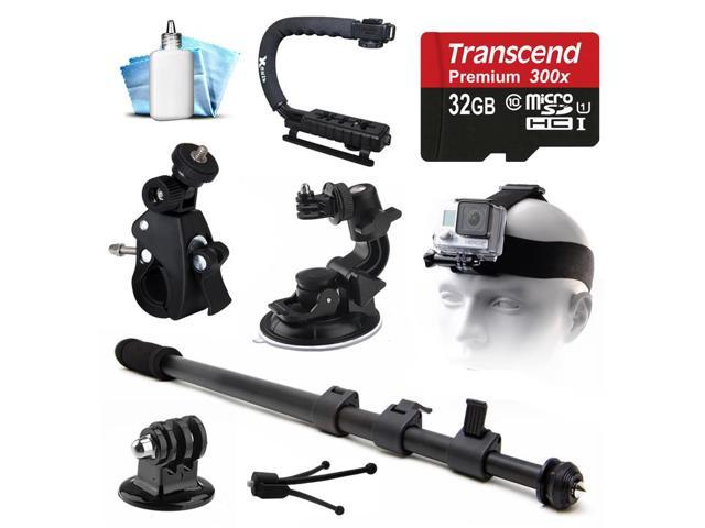 selfie stick monopod car cup suction mount bike handlebar mount tripod adapter 32gb microsd. Black Bedroom Furniture Sets. Home Design Ideas