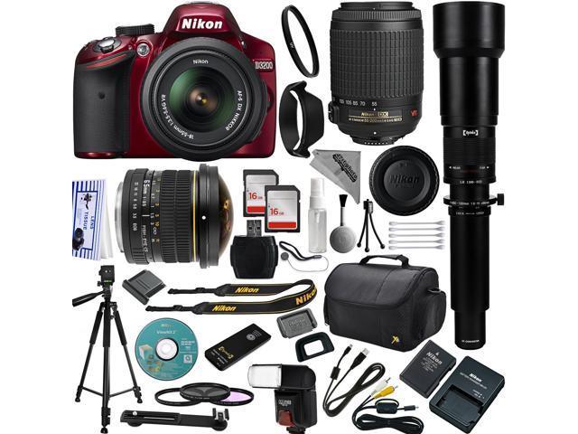 Red Nikon D3200 DSLR Camera 18 55mm 55 200mm AF S DX VR