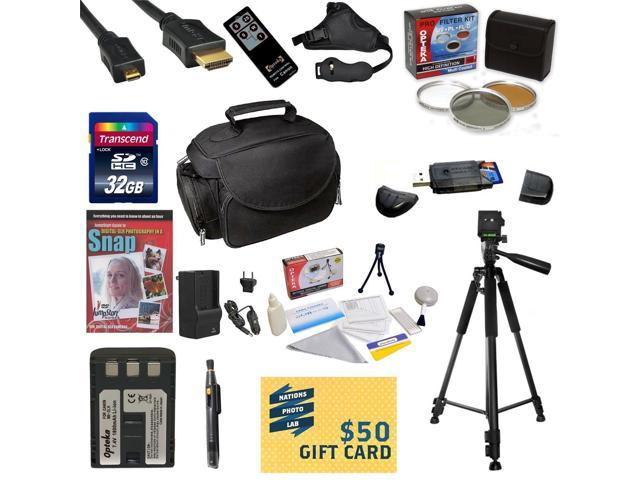 Must Have Kit for Canon XT XTI Includes 32GB SDHC Card + Battery + Charger + 3 Piece Filters + Gadget Bag + Remote Control +Tripod + Lens Pen + Strap + Cleaning Kit + DSLR DVD + $50 Gift Card + More