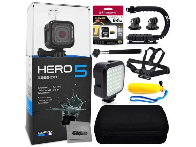GoPro HERO5 Session CHDHS-501 with 64GB Ultra Memory + Premium Case + Opteka X-Grip + Selfie Stick + Chest Harness Strap + LED Night Light + Floaty Bobber & More