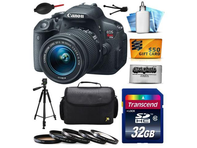 Canon EOS Rebel T5i Digital SLR with 18-55mm STM Lens includes 32GB Memory, Large Case, Tripod, 5 Piece UV-CPL-FL-ND4-10x Filters, Dust Blower, Cleaning Kit, $50 Gift Card 8595B003