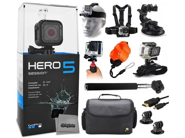 GoPro HERO5 Session CHDHS-501 with Headstrap + Chest Harness + Suction Cup + Handgrip + Floaty Strap + Wrist Hand Glove + Selfie Stick + Large Padded Case + HDMI Cable + Tripod adapter