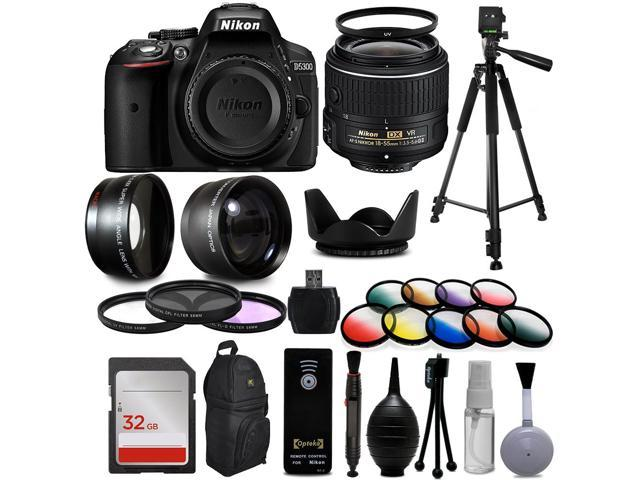 """Nikon D5300 Digital DSLR Camera + 18-55mm VR II + Wide Angle with Fisheye & Macro Effects + 30 PC Accessory Bundle + 60"""" Tripod + 32GB + Remote + UV Filter + Telephoto Lens + Cleaning Kit + More"""