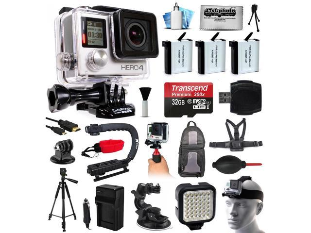 GoPro HERO4 Silver Edition 4K Action Camera with 32GB MicroSD, 3x Batteries, Charger, Card Reader, Backpack, Chest Harness, Action Handle, Tripod, Car Mount, LED Light, Helmet Strap, Dust Cleaning Kit