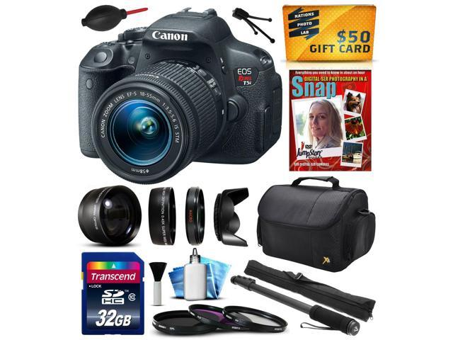 Canon EOS Rebel T5i Digital SLR with 18-55mm STM Lens includes 32GB Memory, 2.2x Telephoto, 0.43x Wide Angle Lens, Hood, Filters, 67