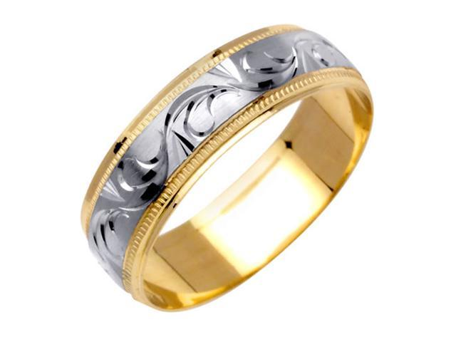 Paisley Swirl Fancy Women's 6 mm 14K Two Tone Gold Wedding Band