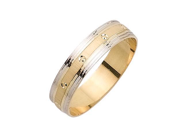 Flat Surface With Zero Fancy Women's 5 mm 14K Two Tone Gold Wedding Band