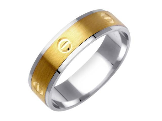 Love Minus Zero Fancy Women's 6 mm 14K Two Tone Gold Wedding Band