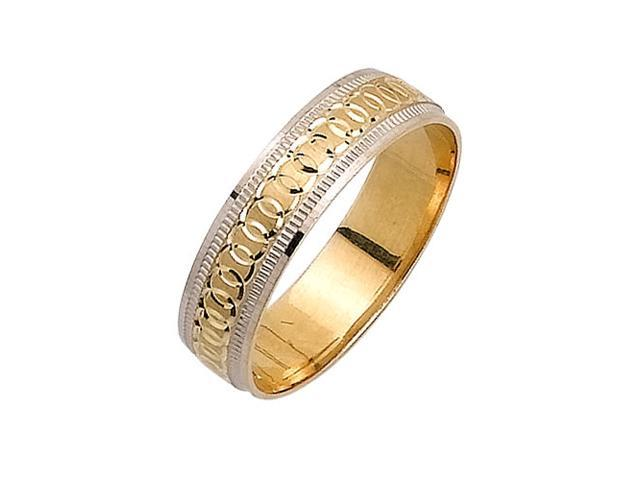 Link Rings Fancy Women's 5 mm 14K Two Tone Gold Wedding Band