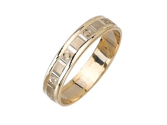 Slotted Surface With Zero Fancy Women's 5 mm 14K Two Tone Gold Wedding Band