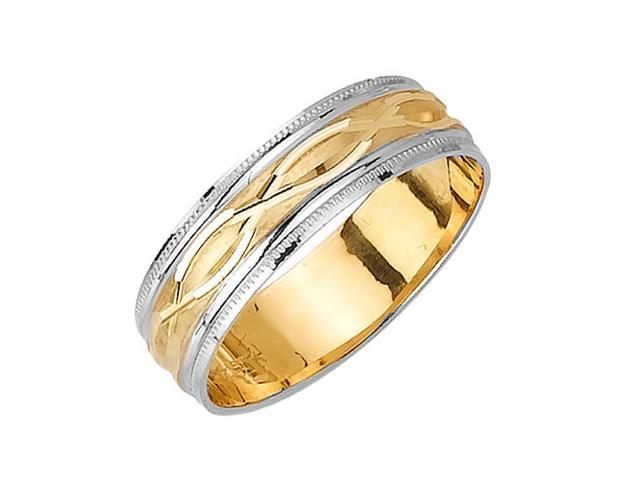 Twisted Pair Pattern Fancy Women's 6 mm 14K Two Tone Gold Wedding Band