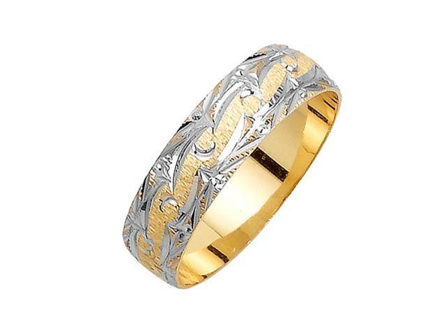 Swirl Pattern Fancy Women's 6 mm 14K Two Tone Gold Wedding Band