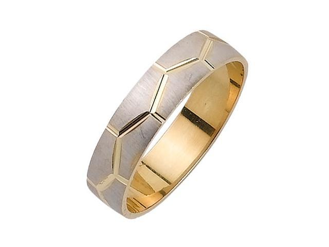 Pattern Flat Fancy Women's 5 mm 14K Two Tone Gold Wedding Band
