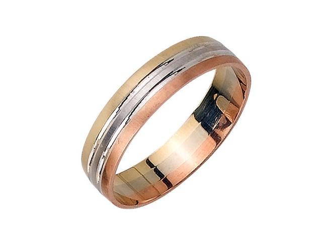 Flat With Polished Center Fancy Women's 5 mm 14K Tri Color Gold Wedding Band