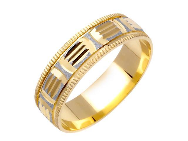 Embossed Pattern Fancy Women's 6 mm 14K Two Tone Gold Wedding Band