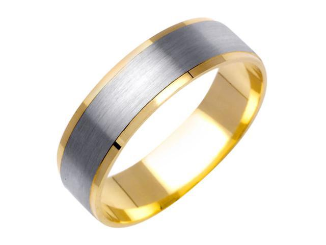 Brushed Surface Fancy Women's 6 mm 14K Two Tone Gold Wedding Band