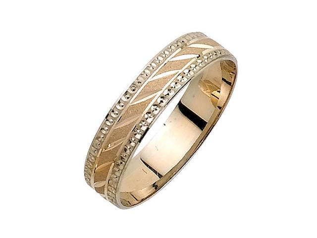Diagonal Grooves Fancy Women's 5 mm 14K Two Tone Gold Wedding Band