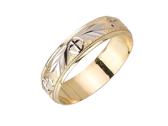 Fern With Cross Pattern Fancy Women's 5.5 mm 14K Two Tone Gold Wedding Band
