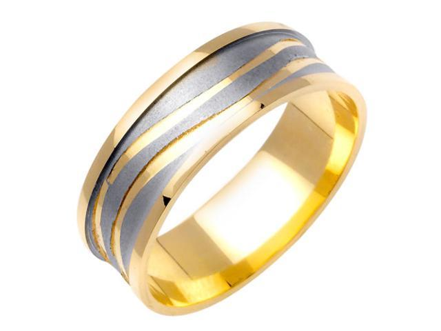 Carved Wave Pattern Fancy Women's 7 mm 14K Two Tone Gold Wedding Band