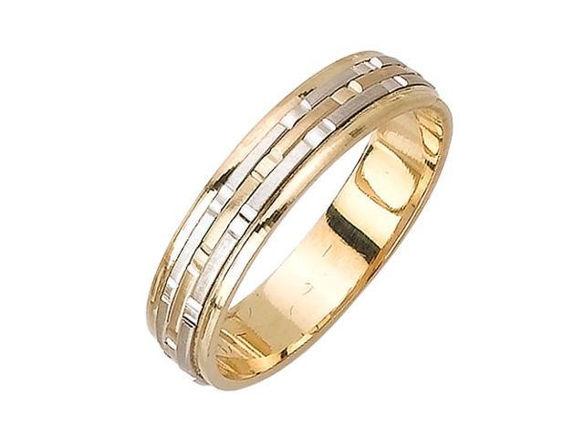 Embossed Strips Fancy Women's 5 mm 14K Two Tone Gold Wedding Band