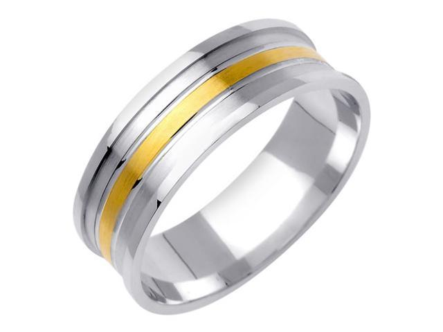 Flat Surface Fancy Women's 7 mm 14K Two Tone Gold Wedding Band