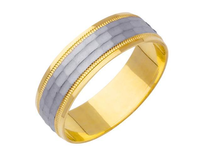 Dimple Pattern Fancy Women's 6 mm 14K Two Tone Gold Wedding Band