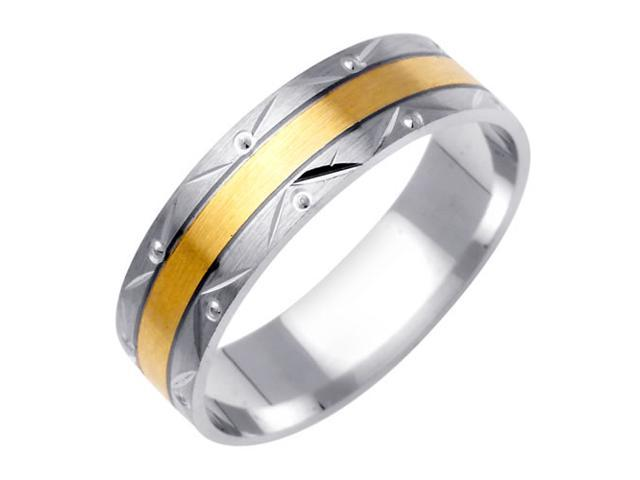 Flat Band Fancy Women's 6 mm 14K Two Tone Gold Wedding Band