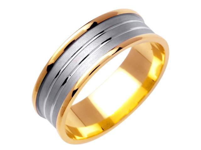 Flat Sunken Center Fancy Women's 7 mm 14K Two Tone Gold Wedding Band