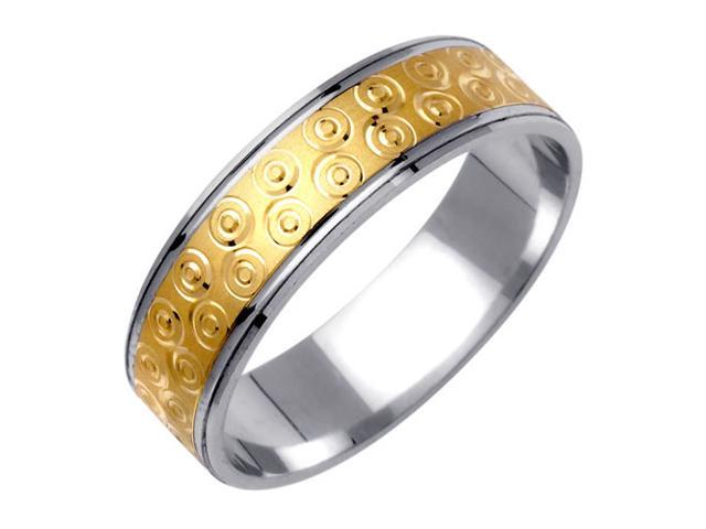 Bulls Eye Fancy Women's 6 mm 14K Two Tone Gold Wedding Band