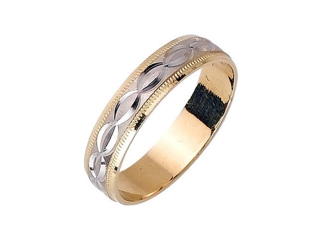 Linked Infinity Pattern Fancy Women's 5 mm 14K Two Tone Gold Wedding Band