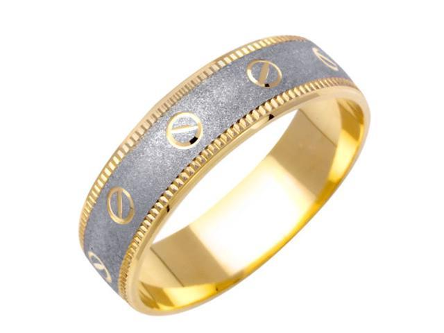 Love Minus Zero Fancy Women's 6 mm 14K Two Tone Gold Wedding Band