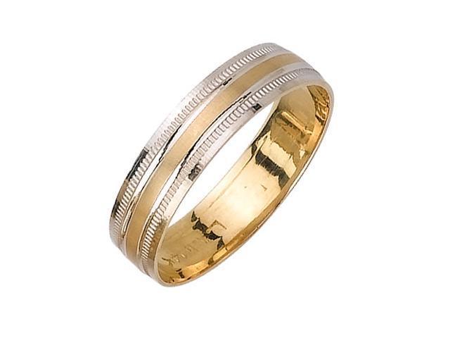 Flat Surface Fancy Women's 5 mm 14K Two Tone Gold Wedding Band