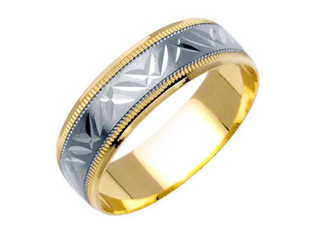 Hamerred Pattern Fancy Women's 6 mm 14K Two Tone Gold Wedding Band