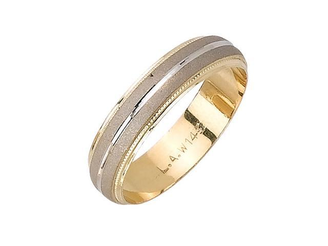 Half Dome With Center Groove Fancy Women's 5 mm 14K Two Tone Gold Wedding Band
