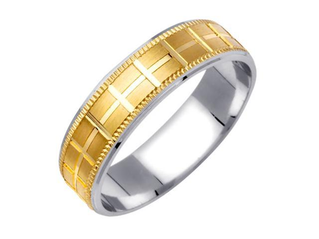 Checkered Pattern Fancy Women's 6 mm 14K Two Tone Gold Wedding Band
